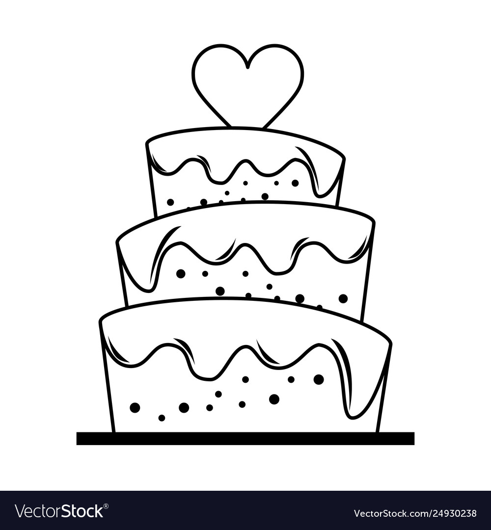 Wedding cake with heart cartoon in black and white