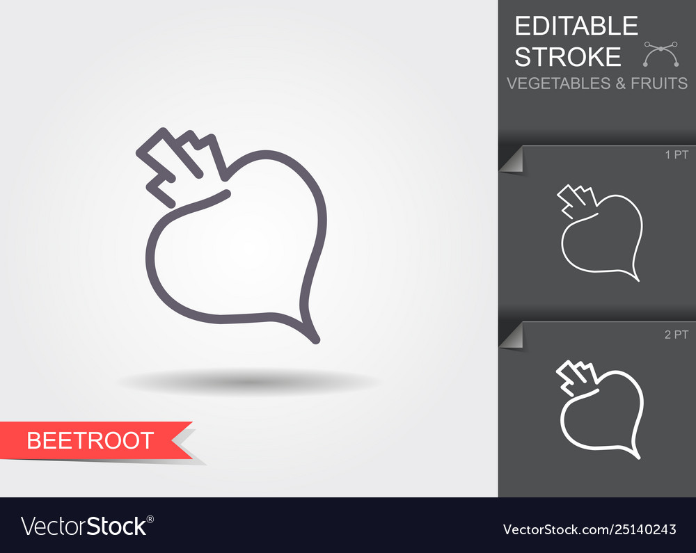 Beetroot line icon with editable stroke