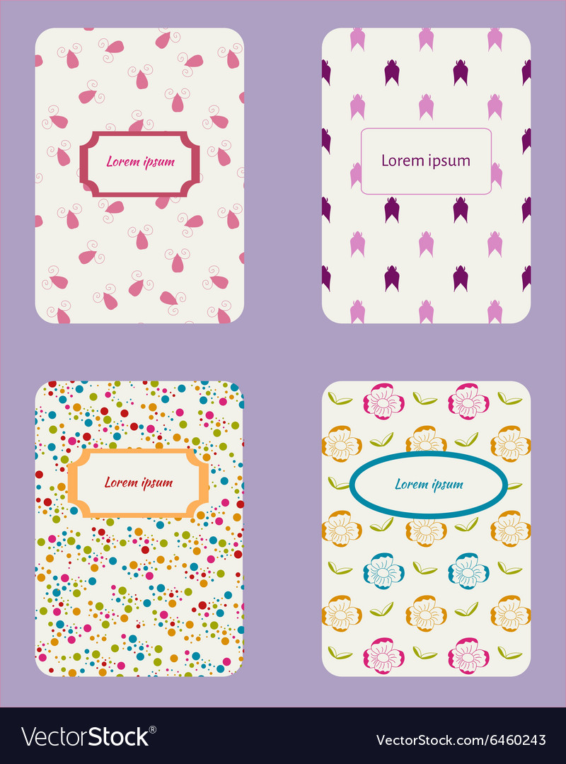Collection card templates vector image