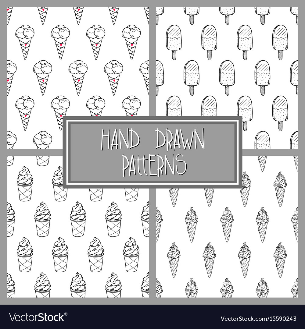 Ice cream pattern set 4 vector image
