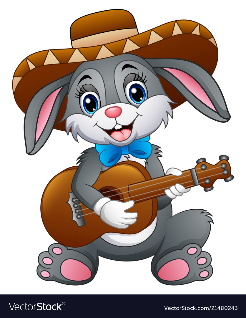Mexican bunny playing guitar and serenading with w