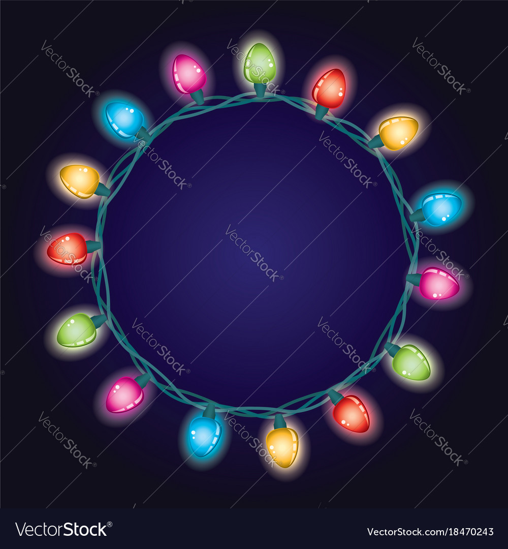 Round border background of christmas light lamps