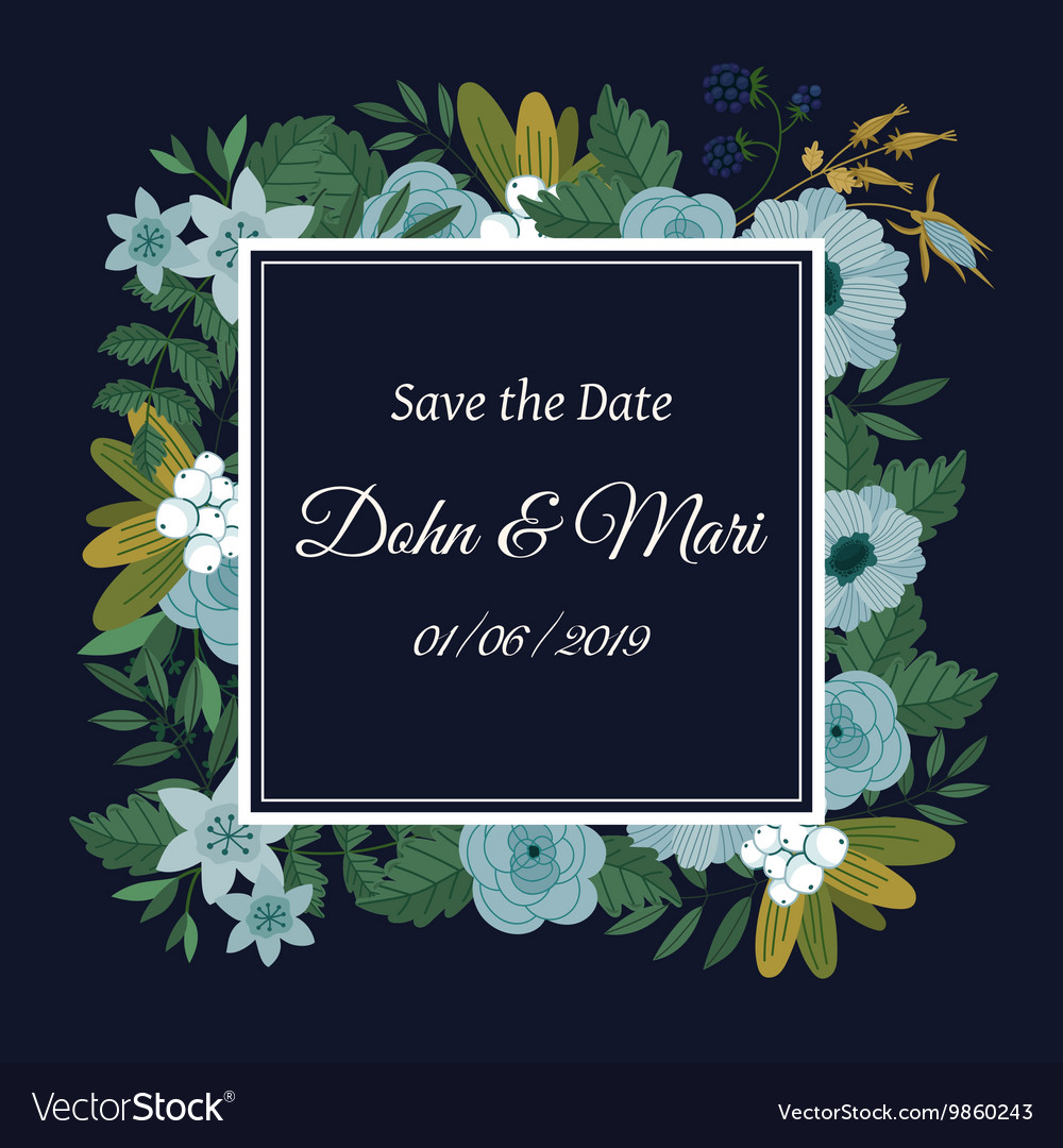 Save the date flower decoration card
