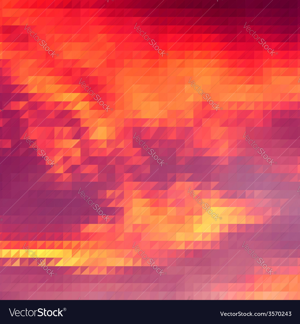 Sundown themed background with triangular grid vector image