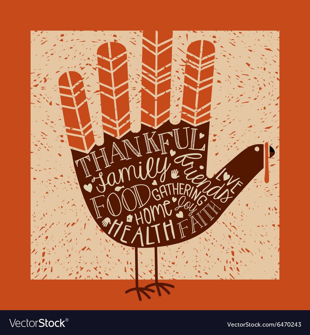 Thanksgiving card with hand print turkey