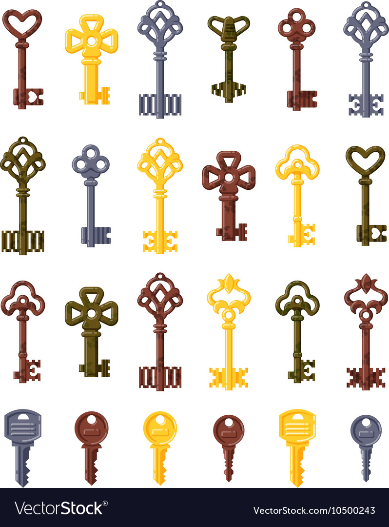 Vintage key isolated icon