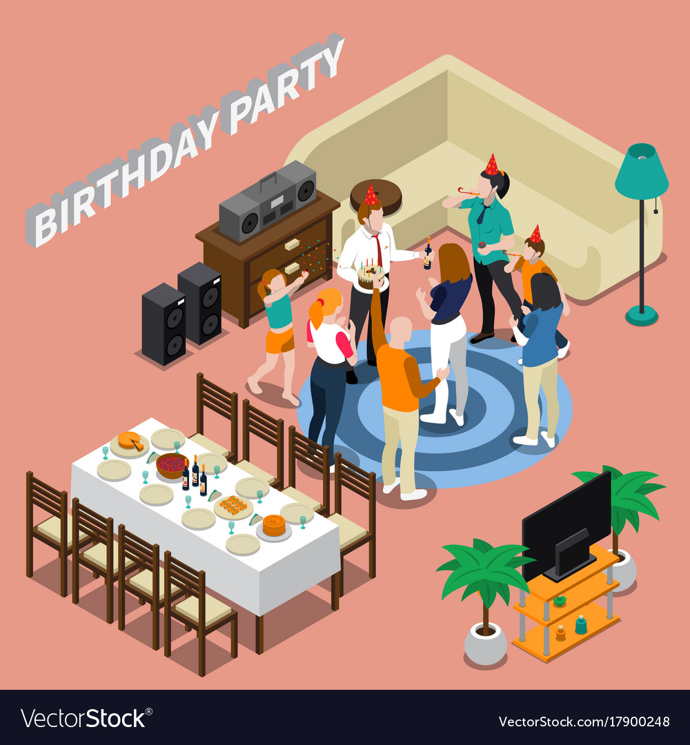 Birthday Party Isometric Composition Royalty Free Vector