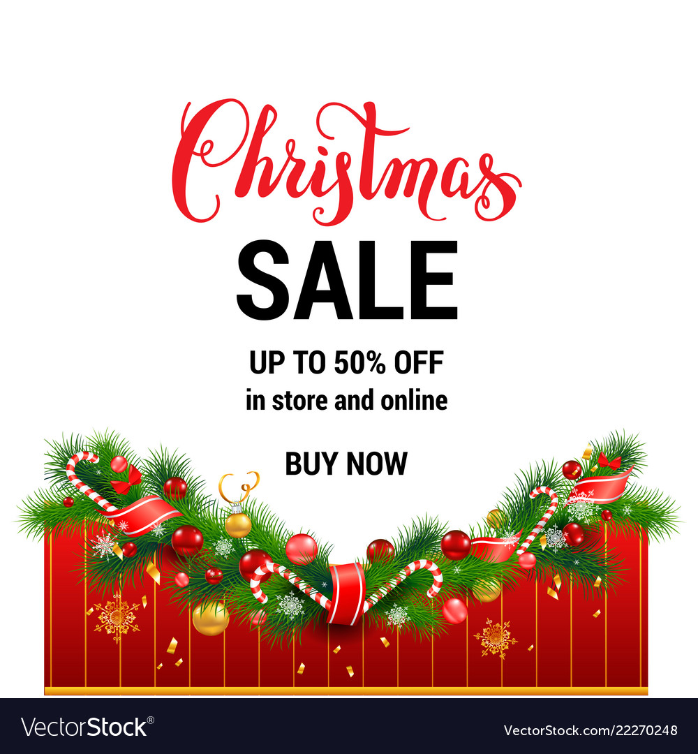 Buy now christmas sale template Royalty Free Vector Image
