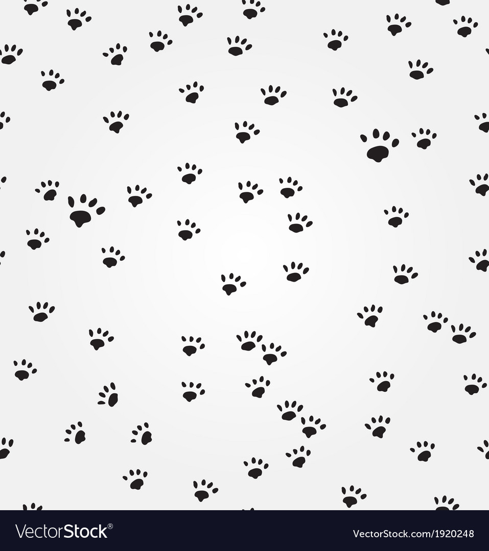 Cat Paw Prints Seamless Background Royalty Free Vector Image