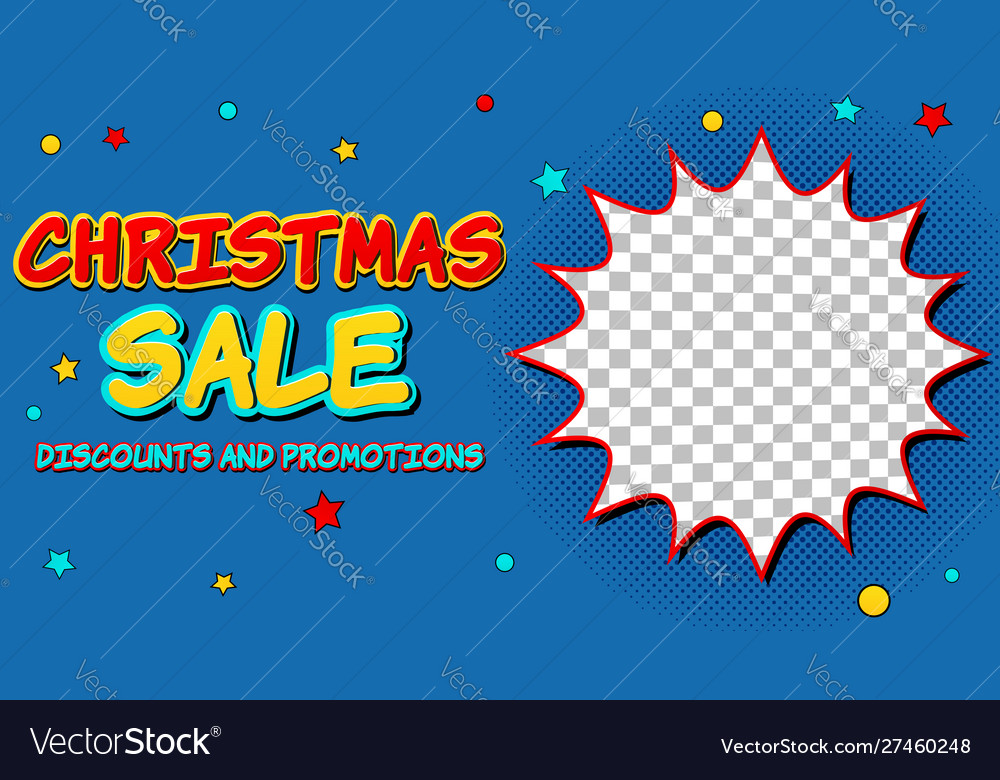 Christmas sale comic advertising concept