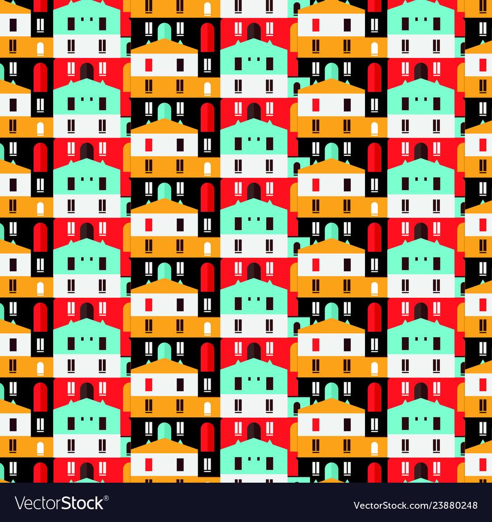 City seamless pattern flat style