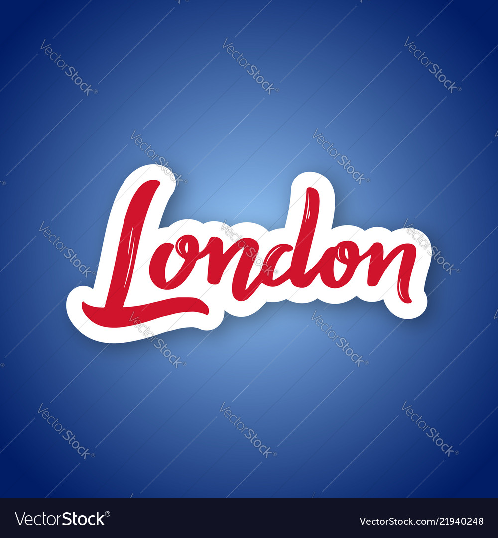 London - hand drawn name of great britain sticker