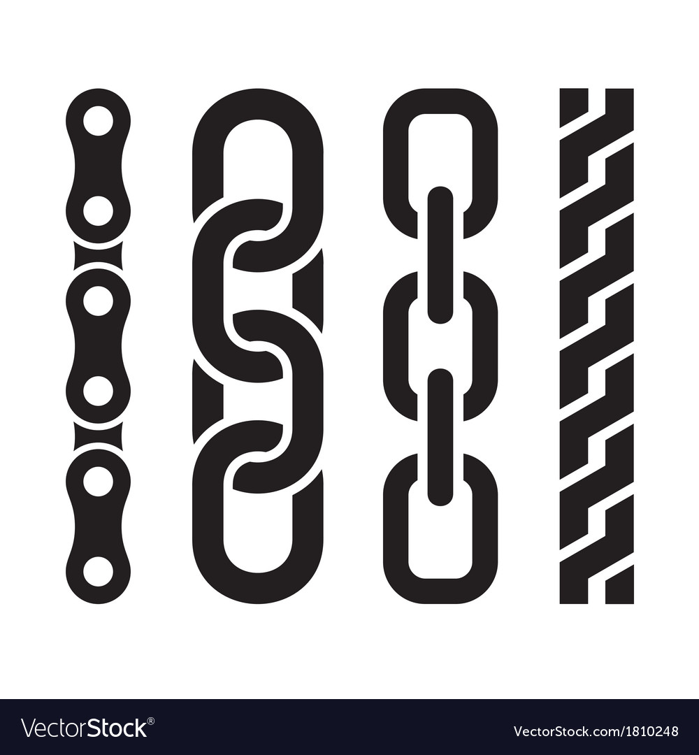 Metal chain parts icons set on white background