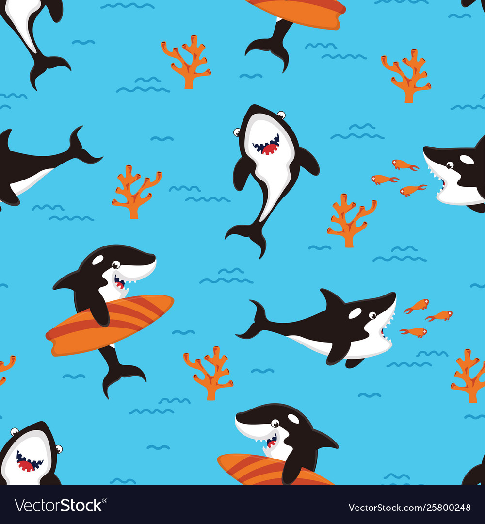 Pattern with cartoon killer whales