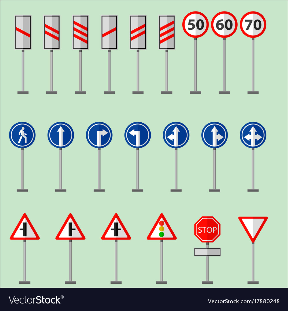Road Symbols Traffic Signs Graphic Elements Vector Image