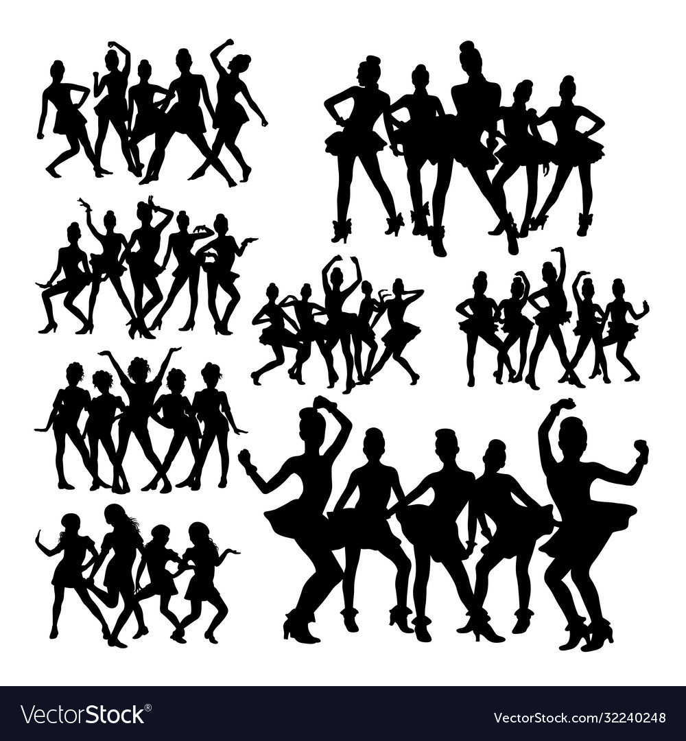 Silhouettes teenager dancing in group