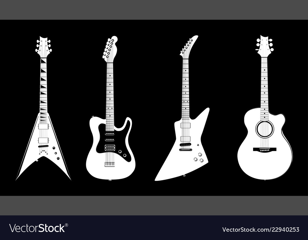 Acoustic And Electric Guitars White Color Vector Image