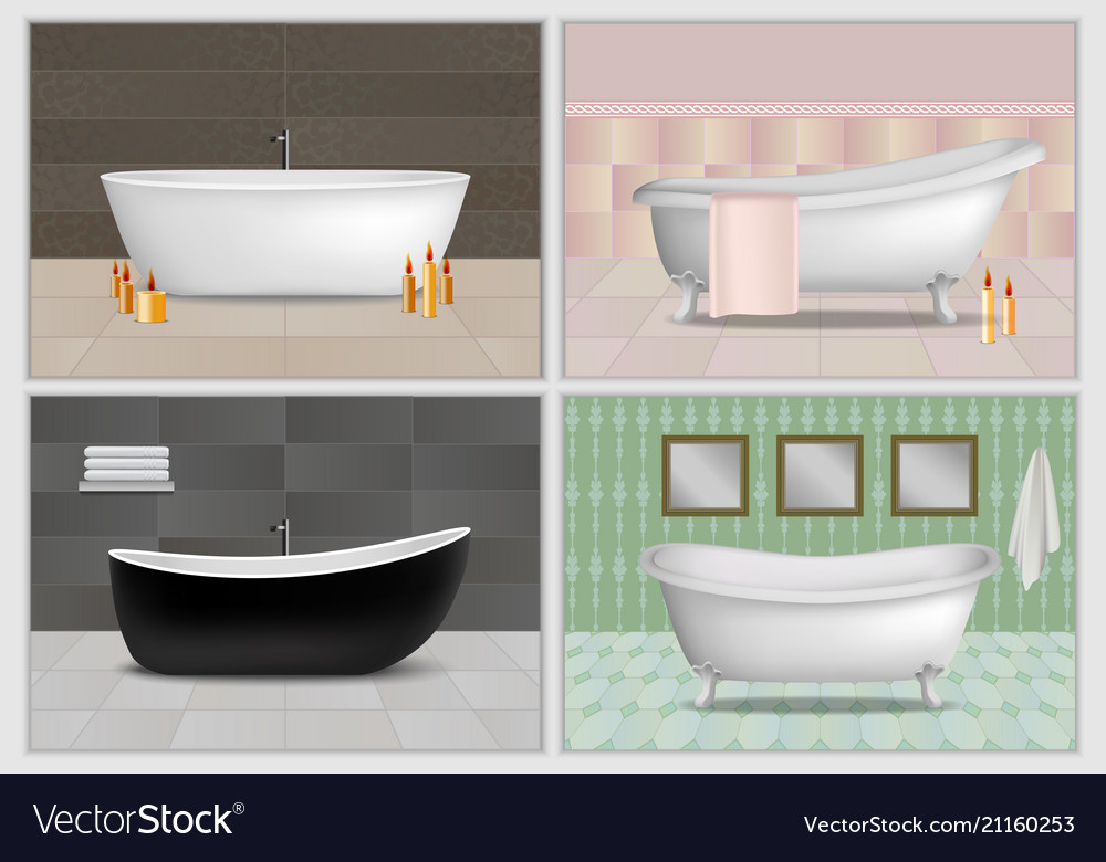 Bathtub interior mockup set realistic style Vector Image