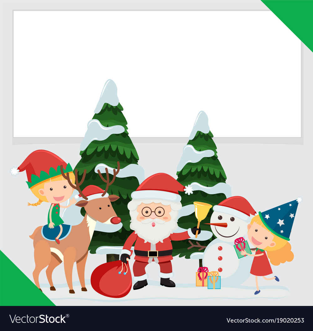 Border template with santa and children Royalty Free Vector