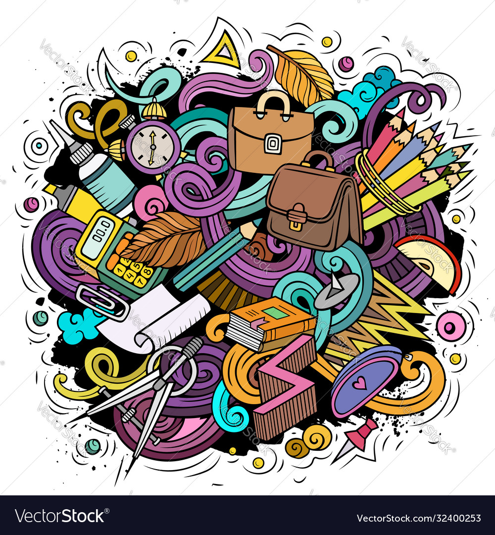 Cartoon cute doodles back to school colorful
