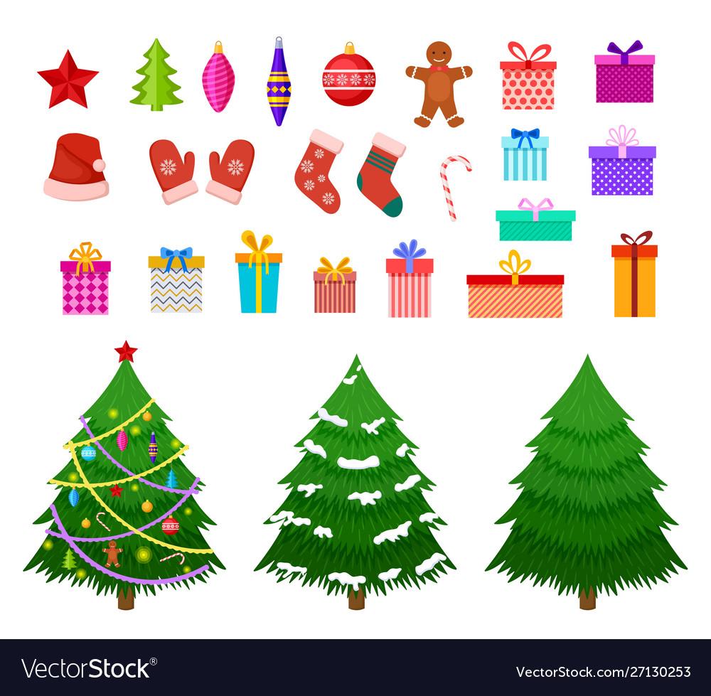 Christmas flat elements santa hat gift boxes and
