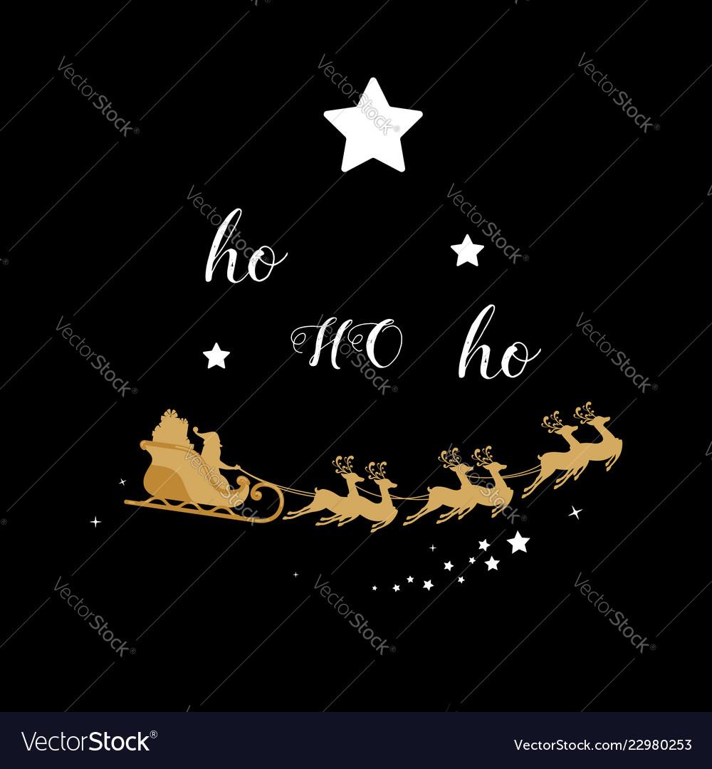 Christmas golden decoration santa sleigh reindeer