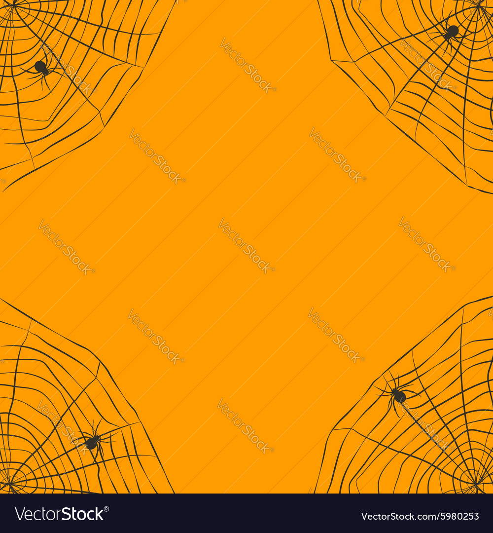 Halloween orange background with spider web