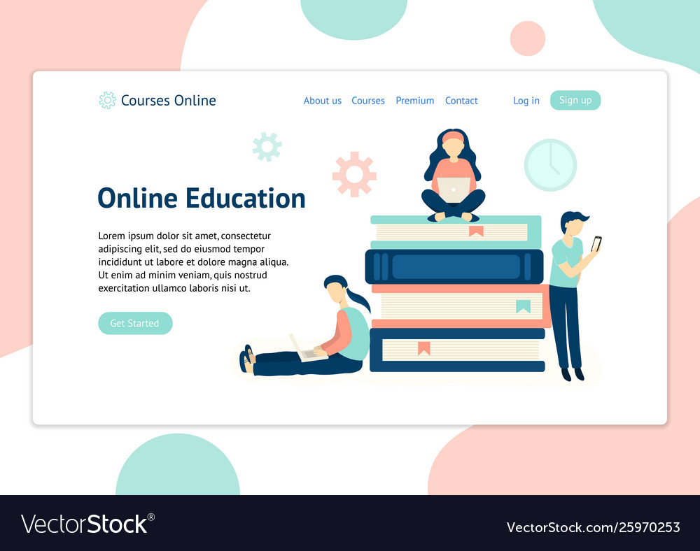 Header template for website with people learning