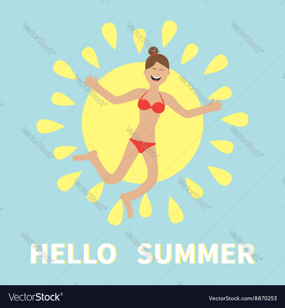 Hello summer Woman wearing swimsuit jumping Sun