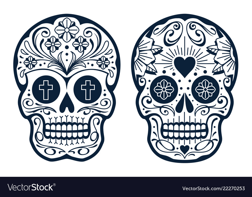 Mexican skulls with patterns
