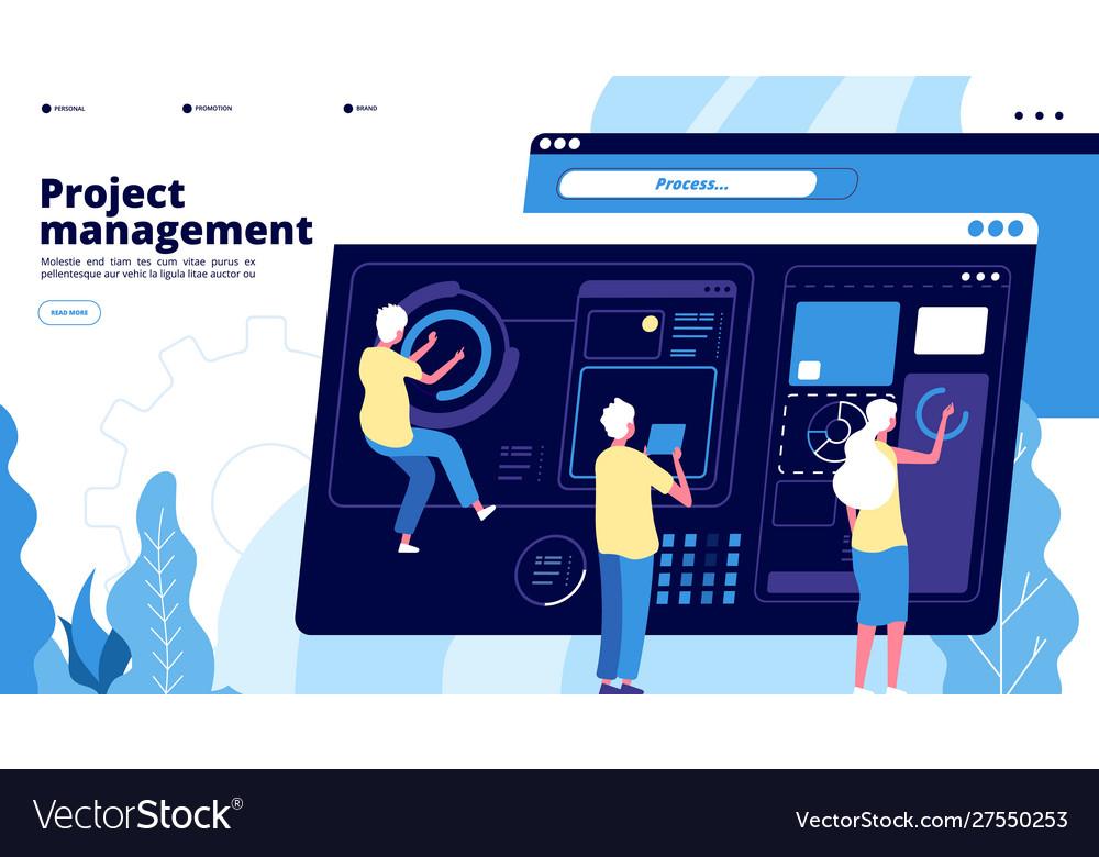 Project management landing tiny guys manage