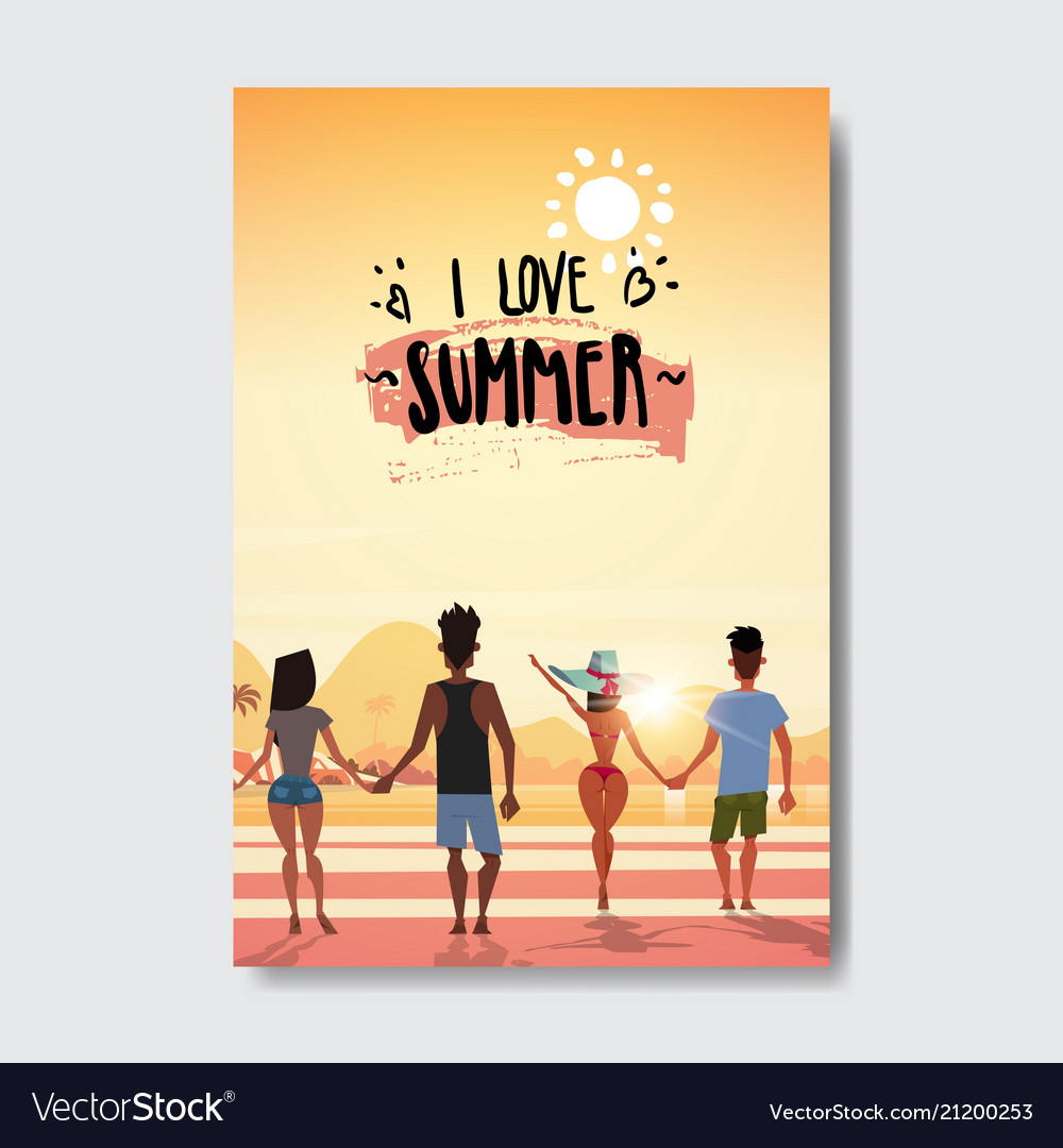 Summer love people holding hands looking sunset