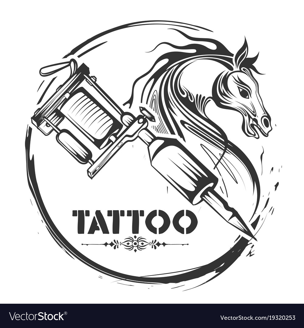 Tattoo Art Design Horse Line Art Style Royalty Free Vector