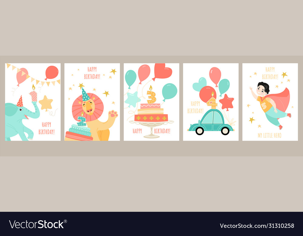 A set birthday cards for a boys birthday