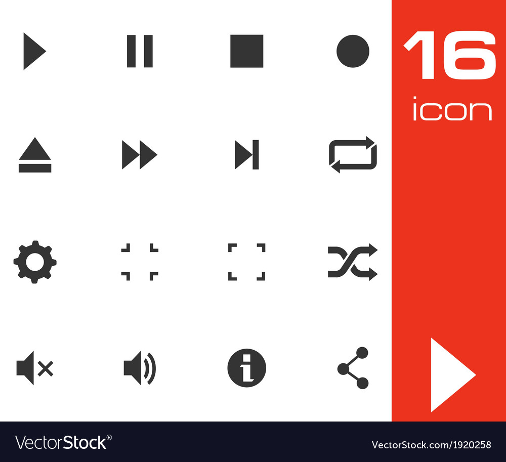 Black media buttons icons set