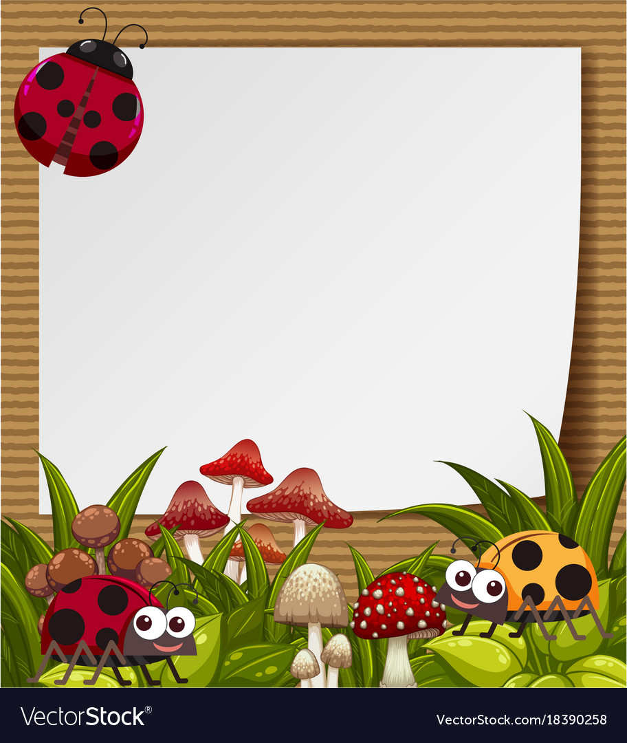 Border Template With Cute Ladybugs In Garden Vector Image