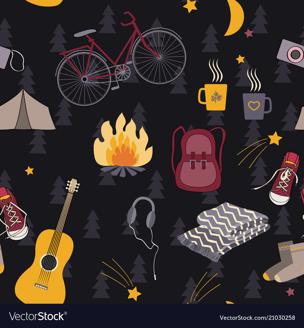 Camping seamless pattern forest night vector image