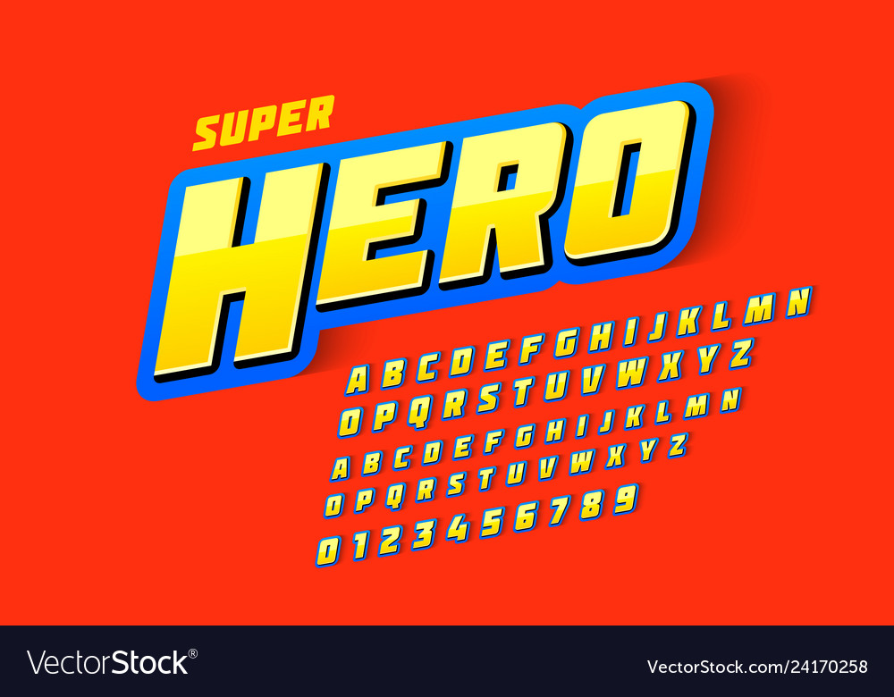 Comics style font super hero upper and lowercase
