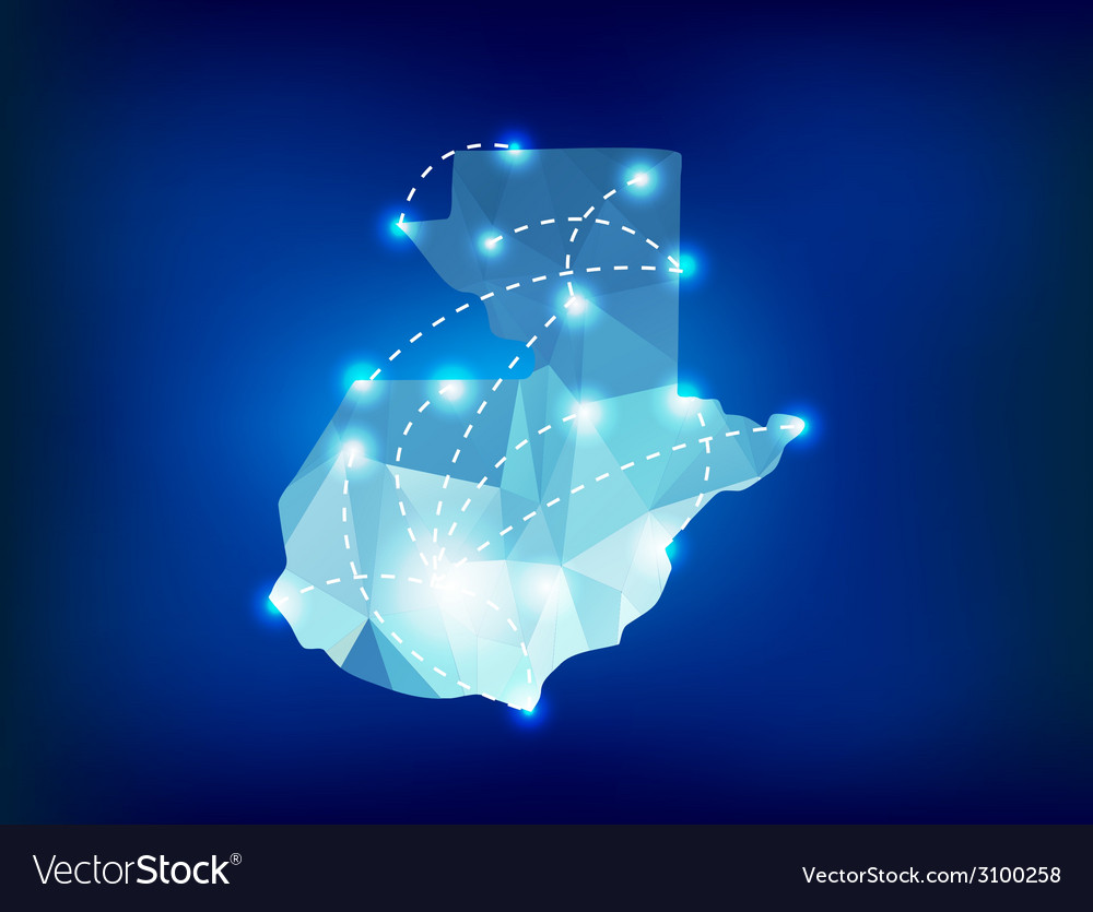 Guatemala country map polygonal with spot lights