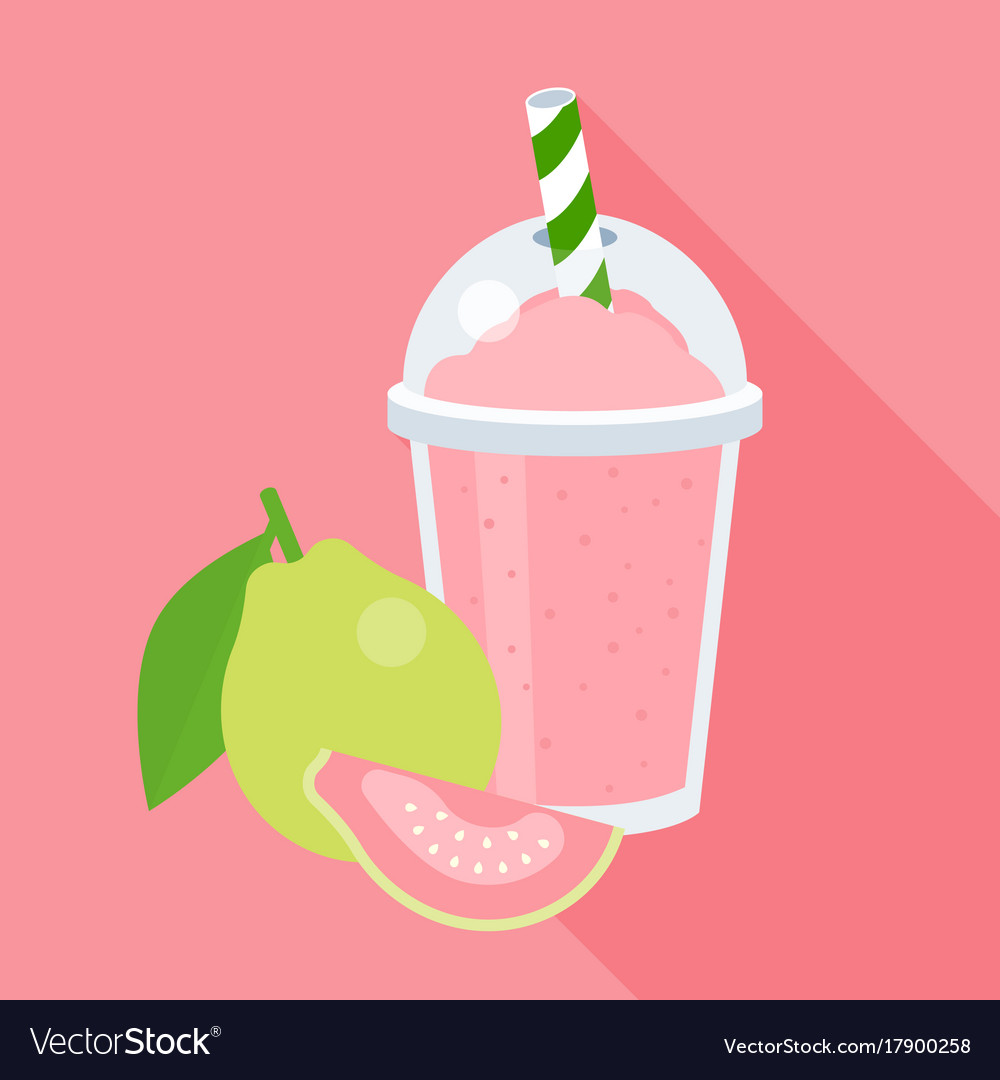 Guava smoothie in plastic glass