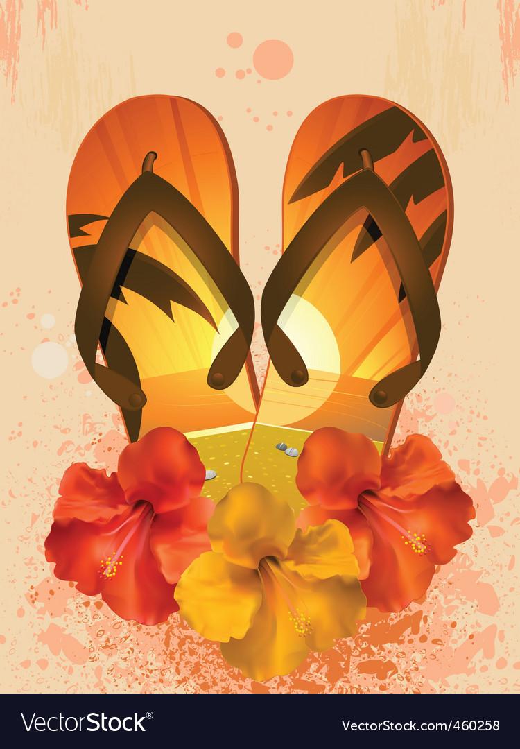 Hibiscus flowers and flip flops