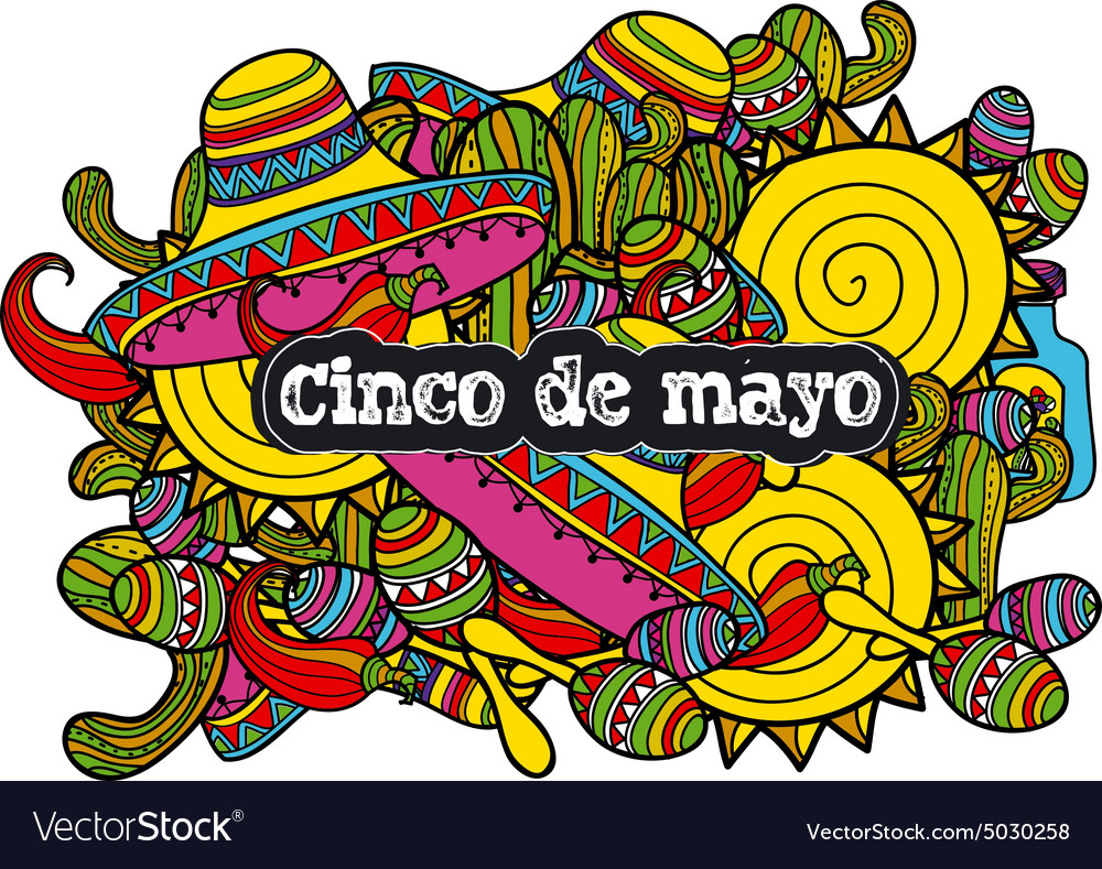 Image sombreros cactuses and maraca in cartoon vector image