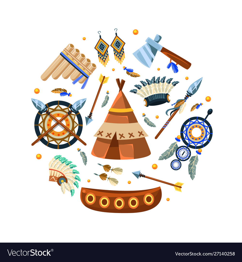 Native american indian symbols round shape vector