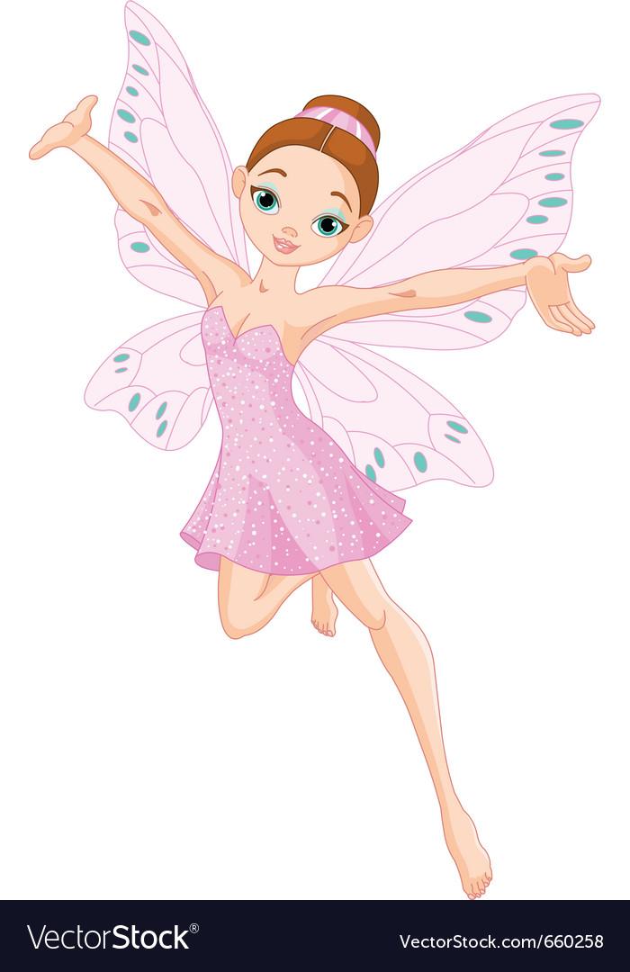 Pink fairy in flight
