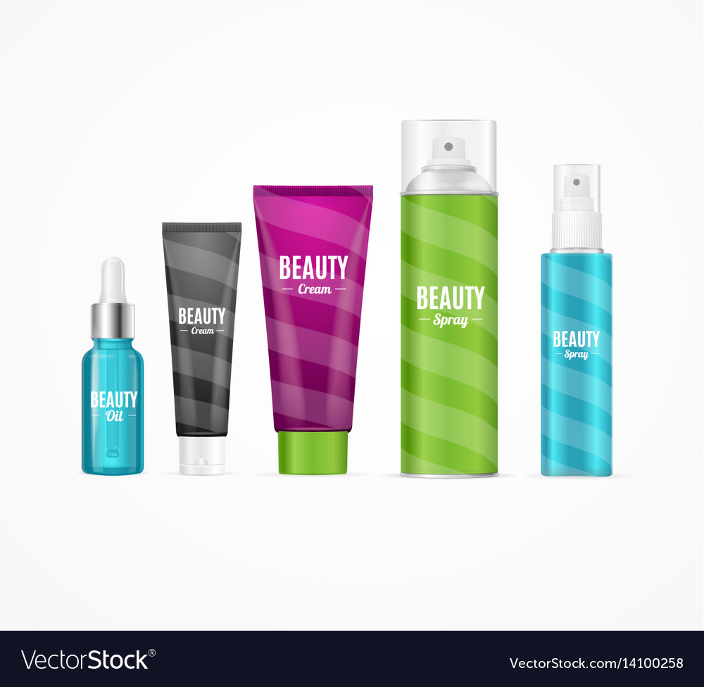 Realistic beauty template bottles set vector image