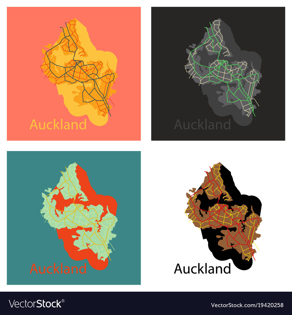 Map Of New Zealand Auckland.Set Of Map Auckland New Zealand Flat