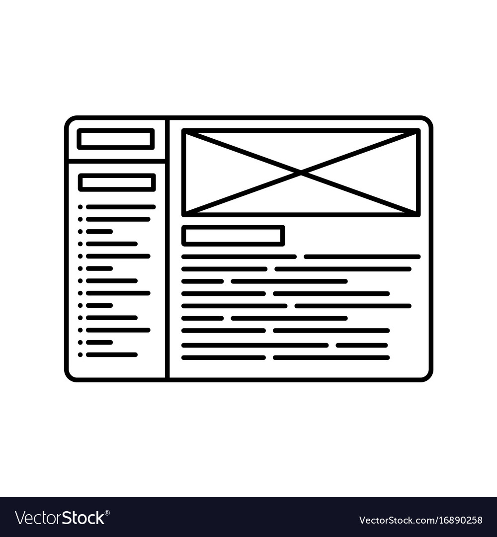 Website wireframe line icon outline