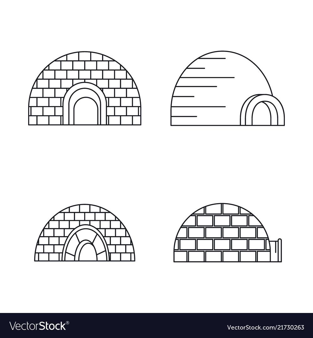 Arctic igloo icon set outline style