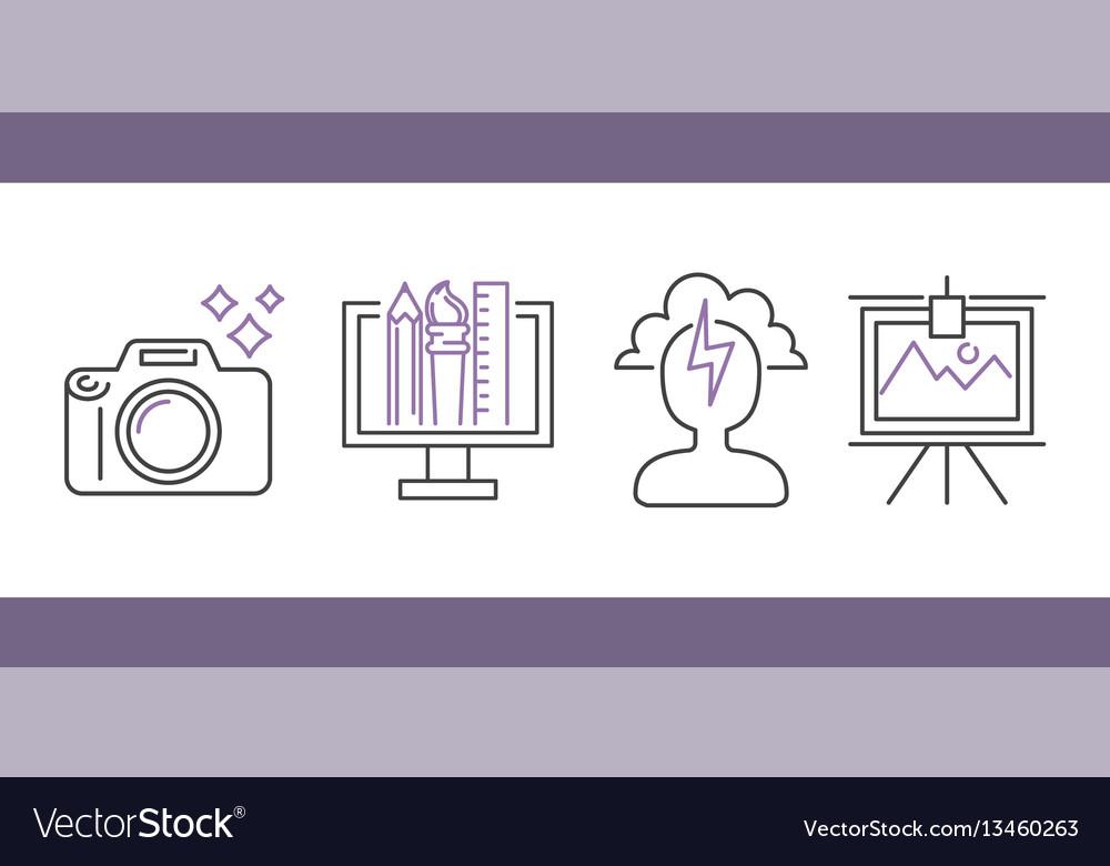 Art icons set design linear vector image