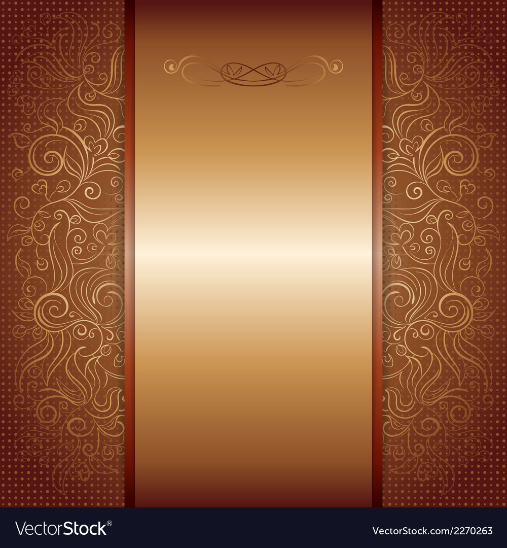 Brown with gold damask pattern royal invitation vector image stopboris Gallery